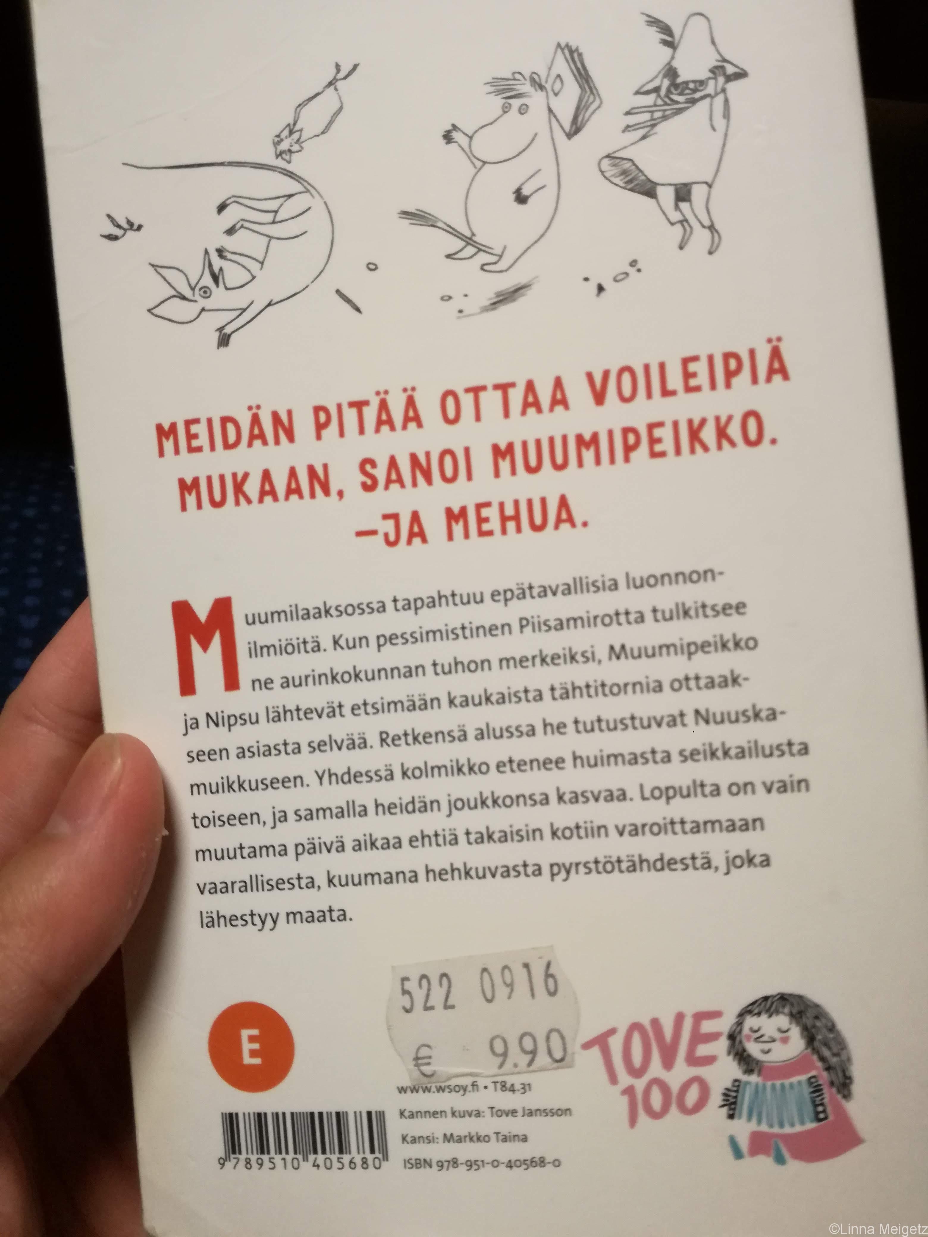 『ムーミン谷の彗星』フィンランド語版の裏表紙