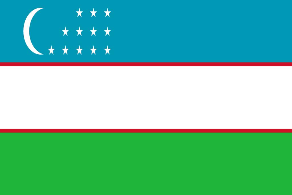 ウズベキスタンの国旗の画像