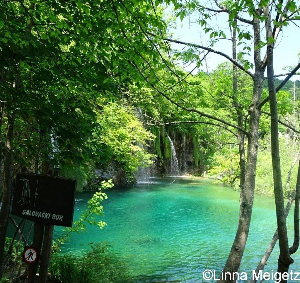 滝(Veliki Buk)と滝壺の池