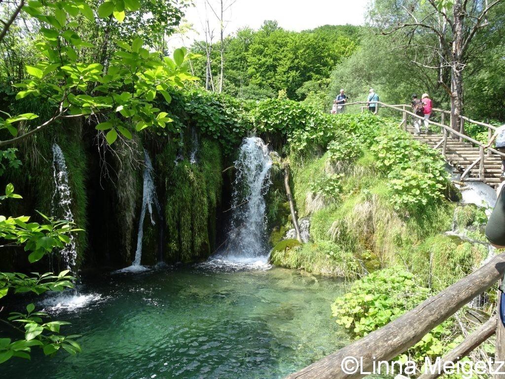 池と滝と遊歩道
