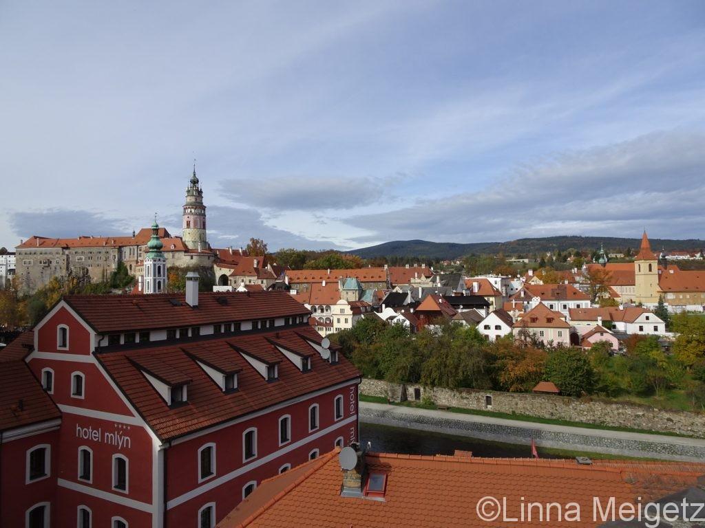 見晴らし台から見たチェスキー・クルムロフ旧市街