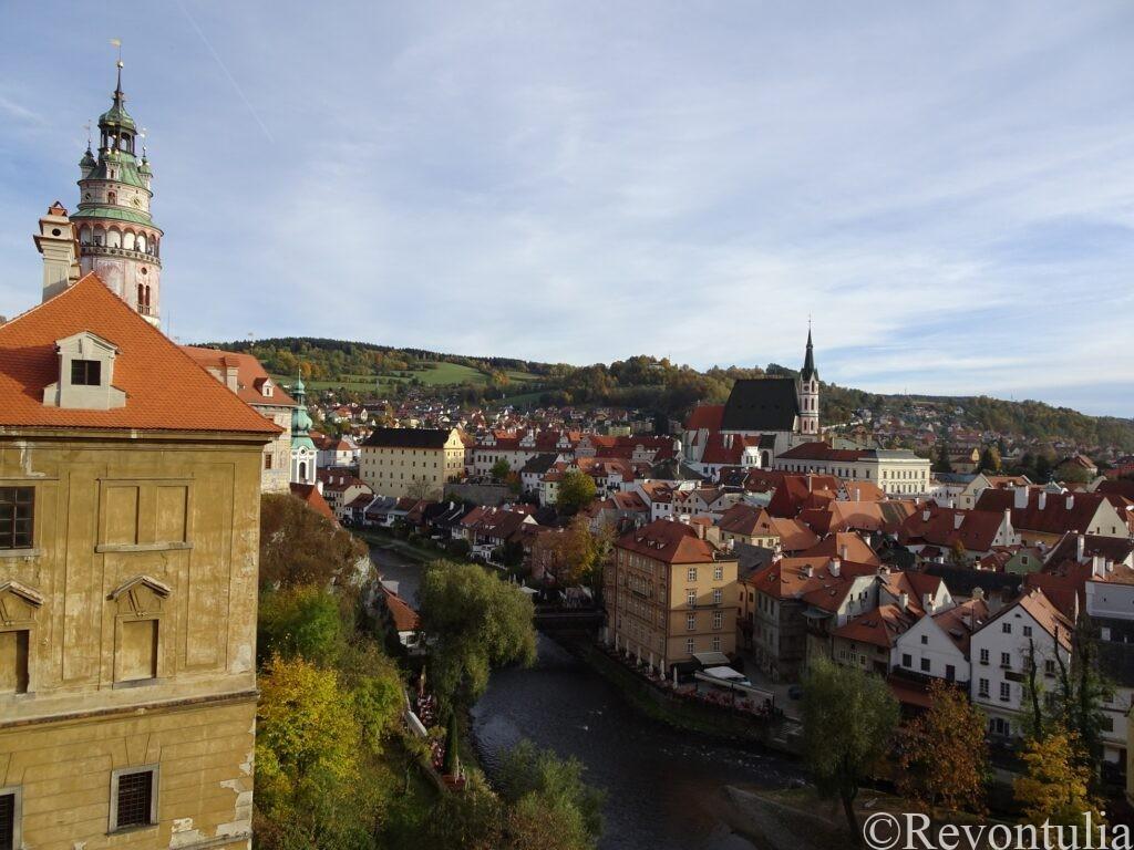 チェスキー・クルムロフ城から旧市街を一望