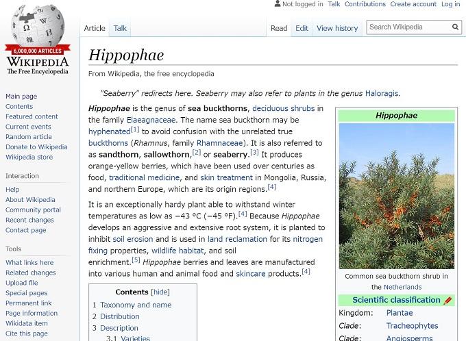 英語版ウィキペディアの記事のスクリーンショット