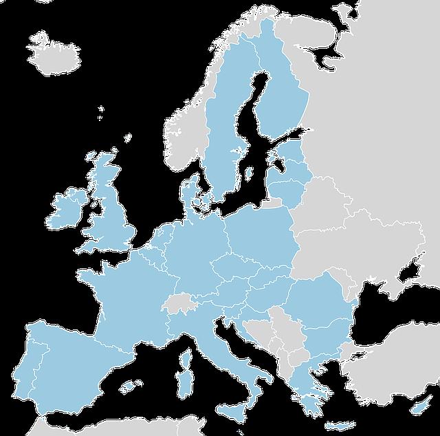 ヨーロッパ連合(EU)加盟国の地図