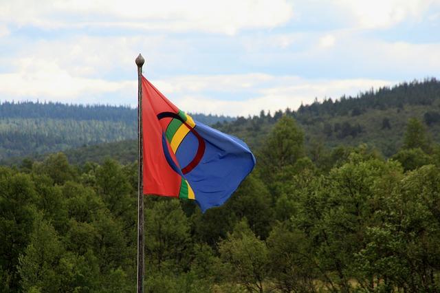 ラップランドの風景とサーミ人の旗