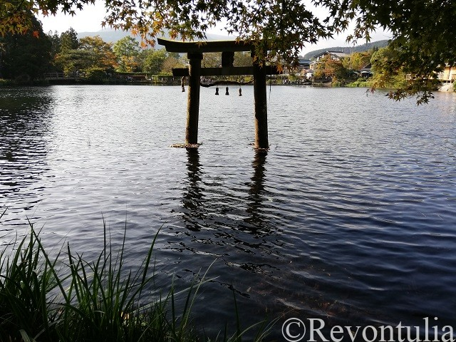 由布院の金鱗湖中にある鳥居