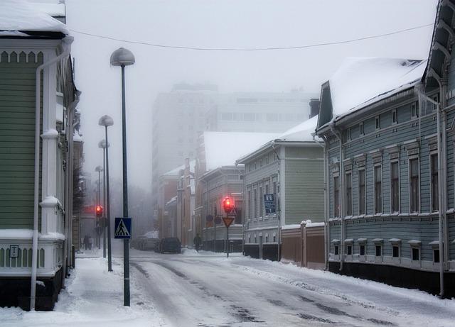 冬のオウルの通り