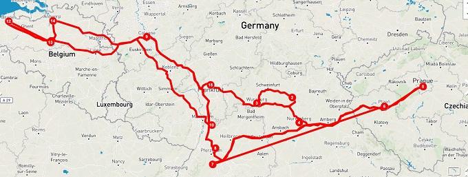 南ドイツ・チェコ・ベルギー旅行の旅程。