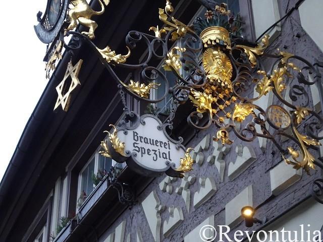 バンベルクのBrauerei Spezialの吊り看板