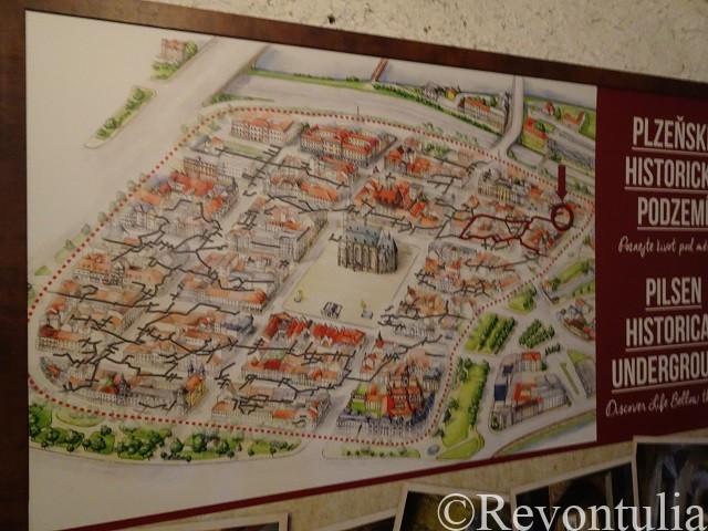プルゼニの地下通路の地図