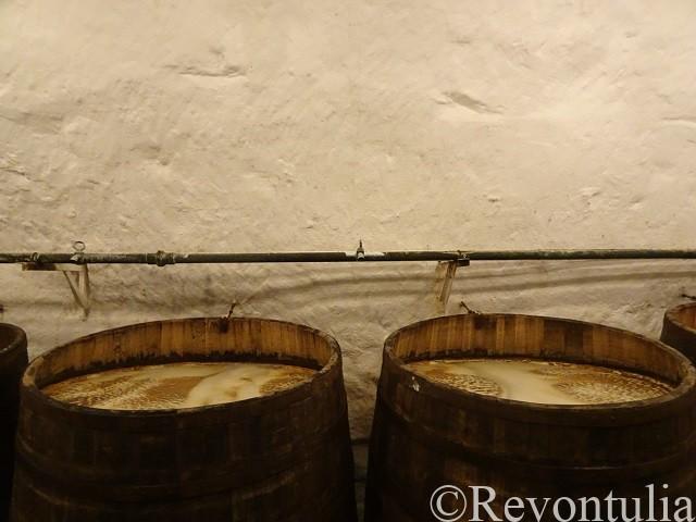 ピルスナーウルケル醸造所の地下の発酵樽