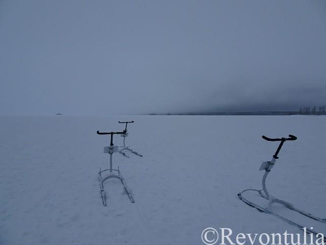 凍った海とソリ