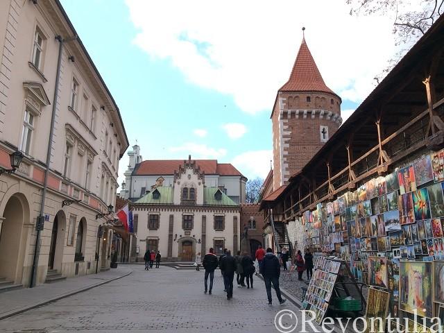 クラクフ旧市街の城壁近く