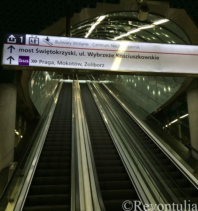 ワルシャワの地下鉄のエスカレーター