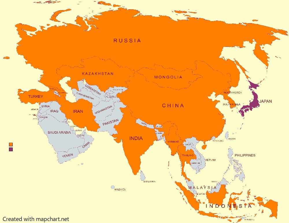 塗りつぶしたアジアの地図
