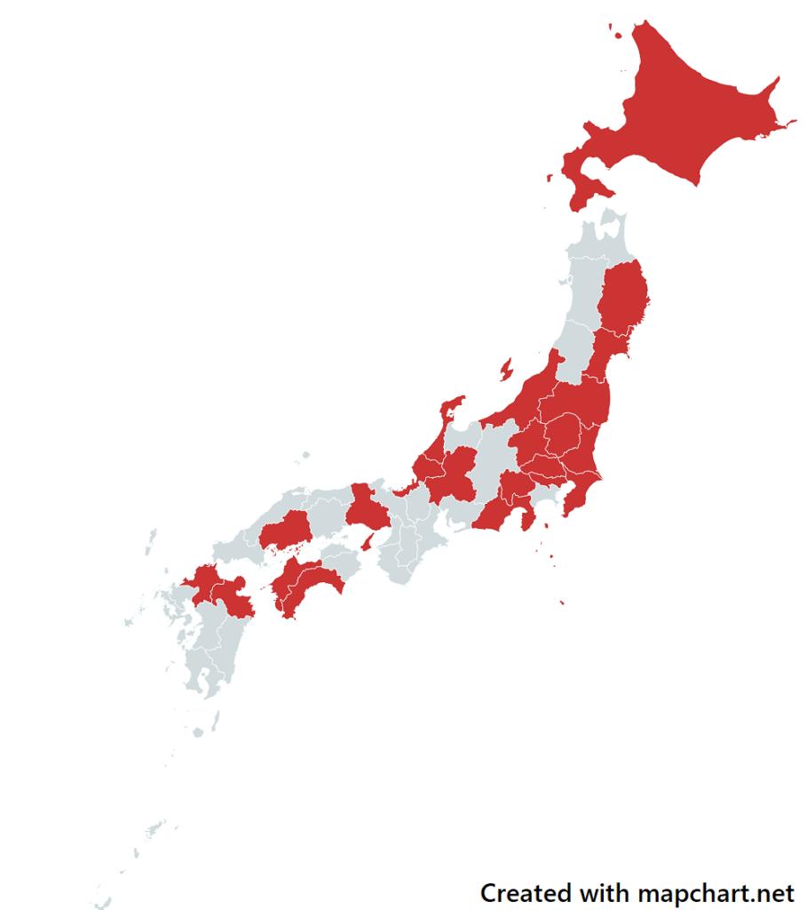 都道府県別の日本地図