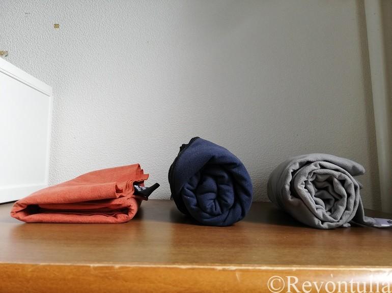 旅行用速乾タオルを並べた写真