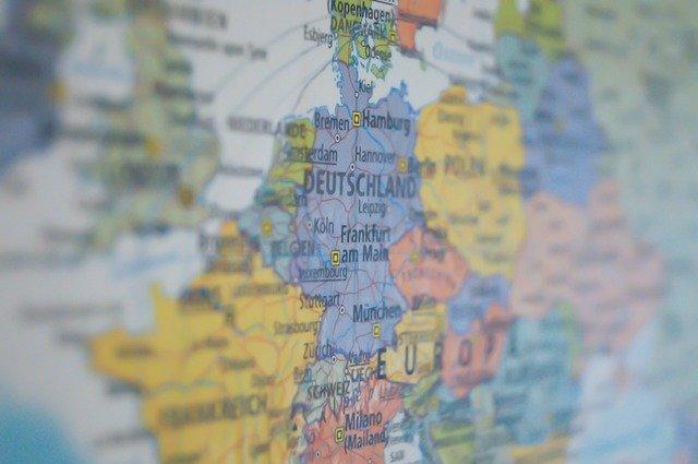 ドイツ中心のヨーロッパの地図